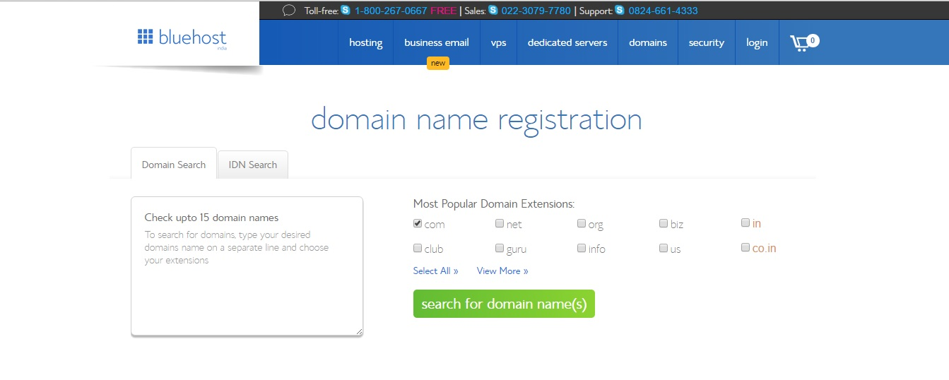 domain name registration blue host